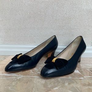 Salvatore Ferragamo Navy Bow Pumps